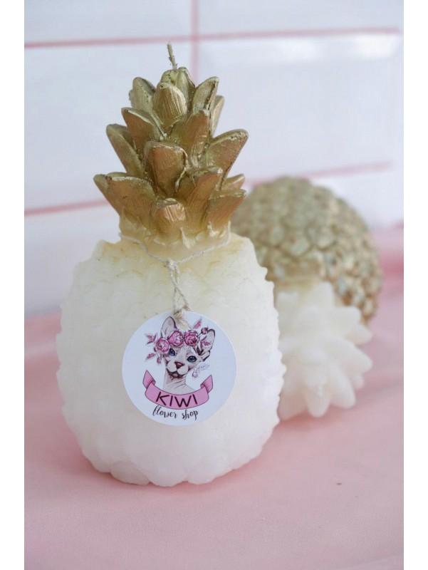 Декоративная интерьерная свеча 'Золотой ананас' от Kiwi Flower Shop