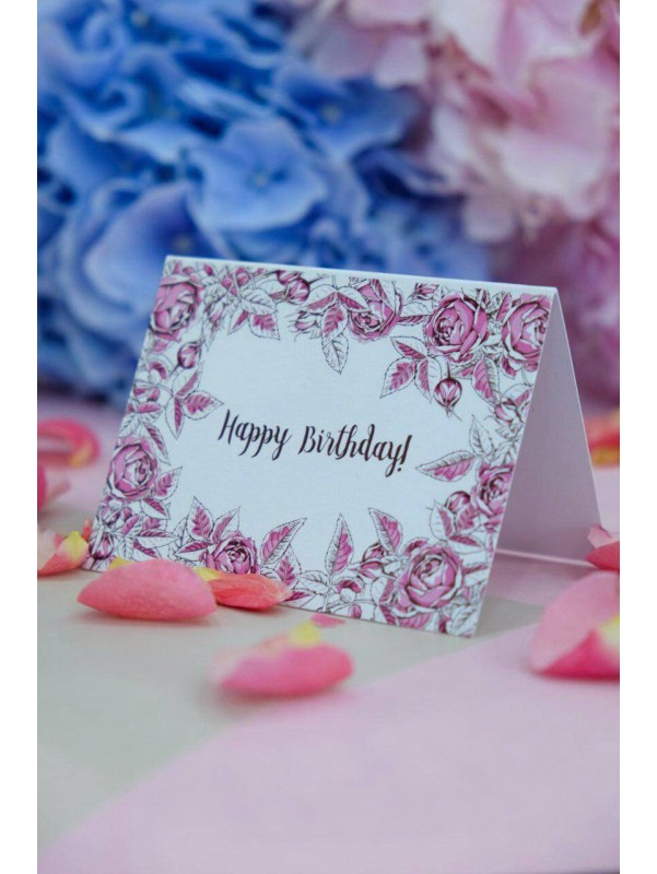 Открытка Happy Birthday | Открытки от Kiwi Flower Shop