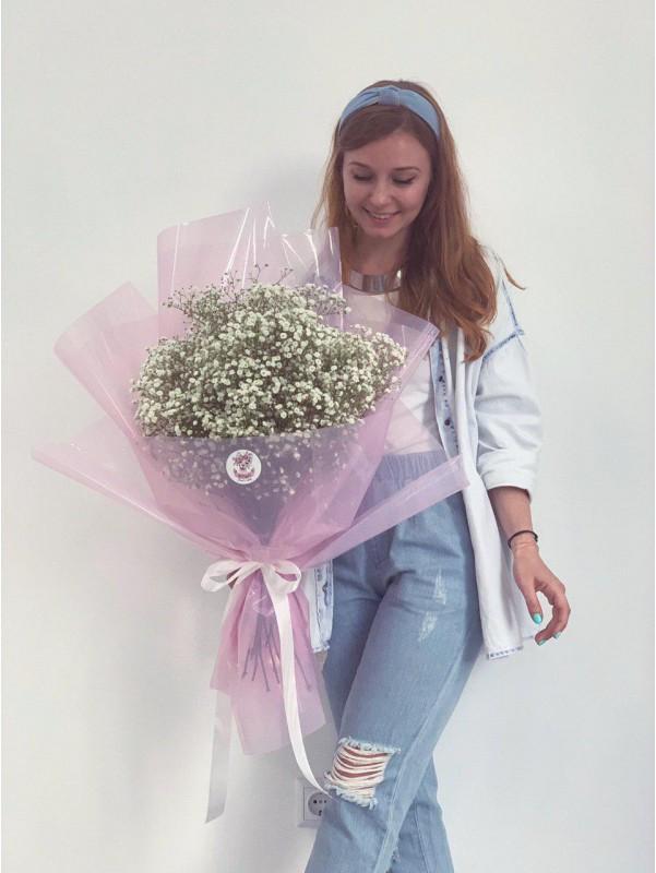 Букет из белой гипсофилы | Букеты гиганты в Киеве | Купить букеты гиганты в Киеве от Kiwi Flower Shop