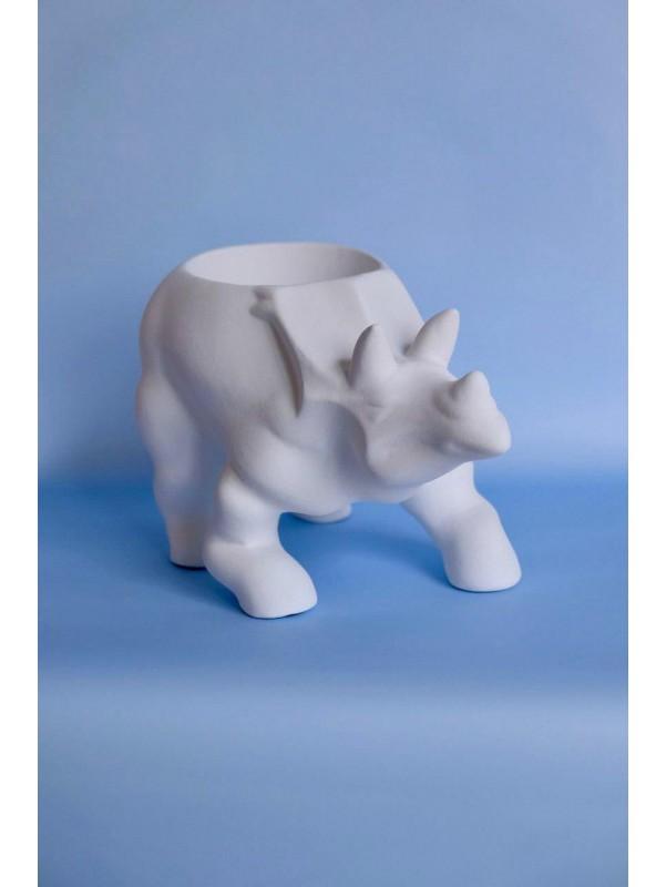 Интерьерное керамическое кашпо 'Трицератопс' by Kiwi Flower Shop