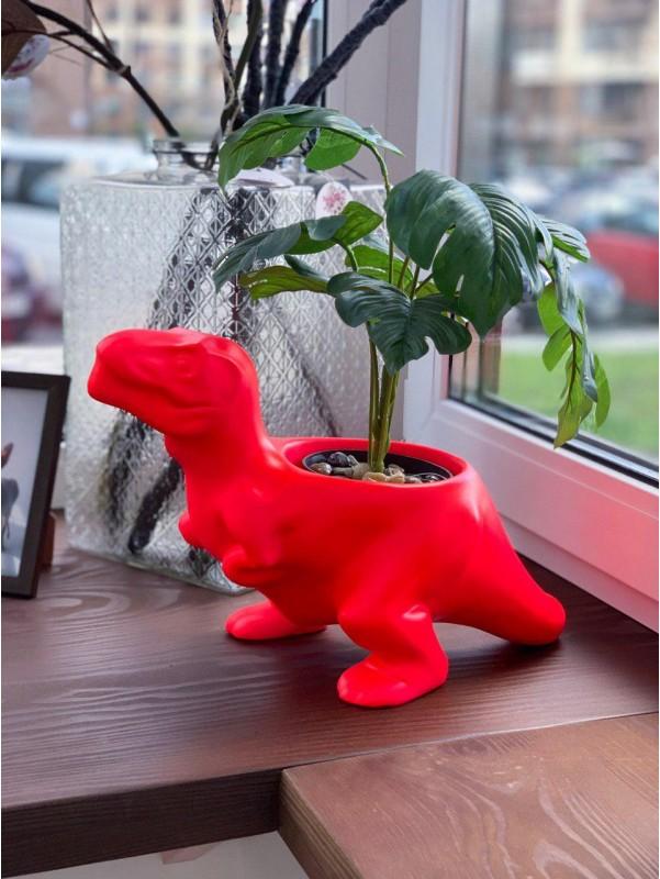 Интерьерное керамическое кашпо 'Тиранозаврнеоновый' от Kiwi Flower Shop