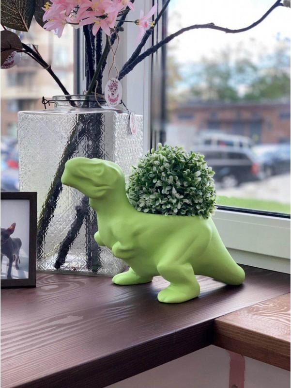 Интерьерное керамическое кашпо тиранозавр Трицератопс салатовый от Kiwi Flower Shop