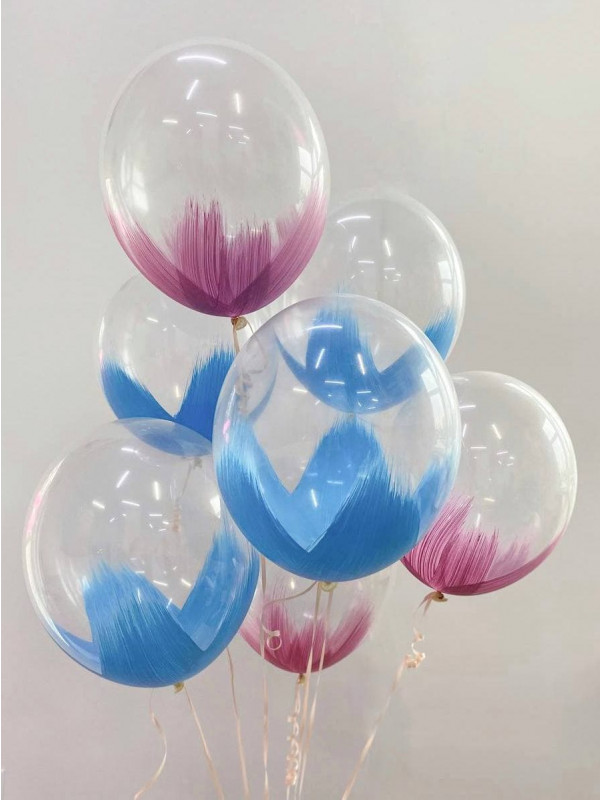 Набір кольорових повітряних кульок браш  | Повітряні кульки від Kiwi Flower Shop