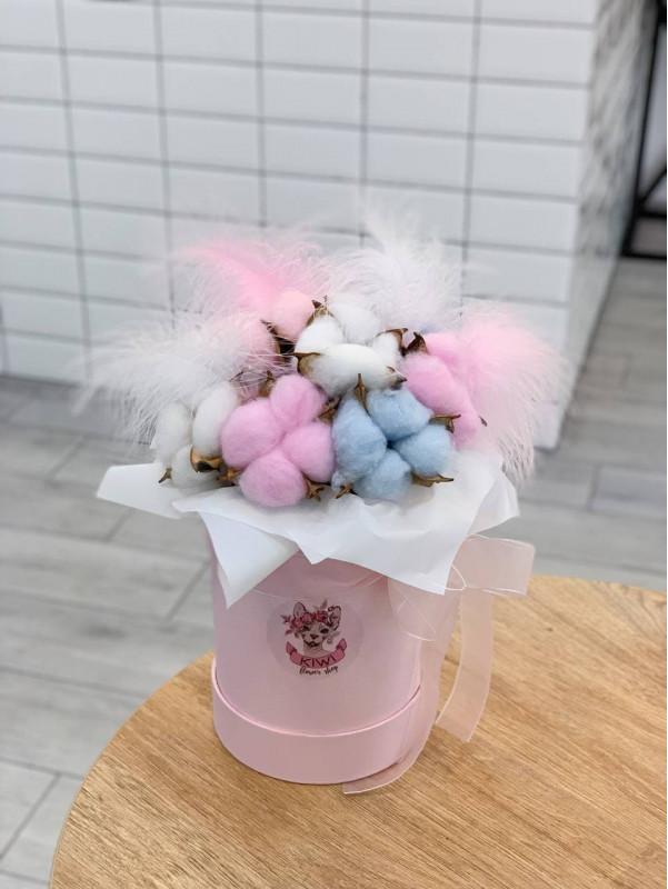 Композиция с цветным хлопком в размере S | Сухоцветы от Kiwi Flower Shop