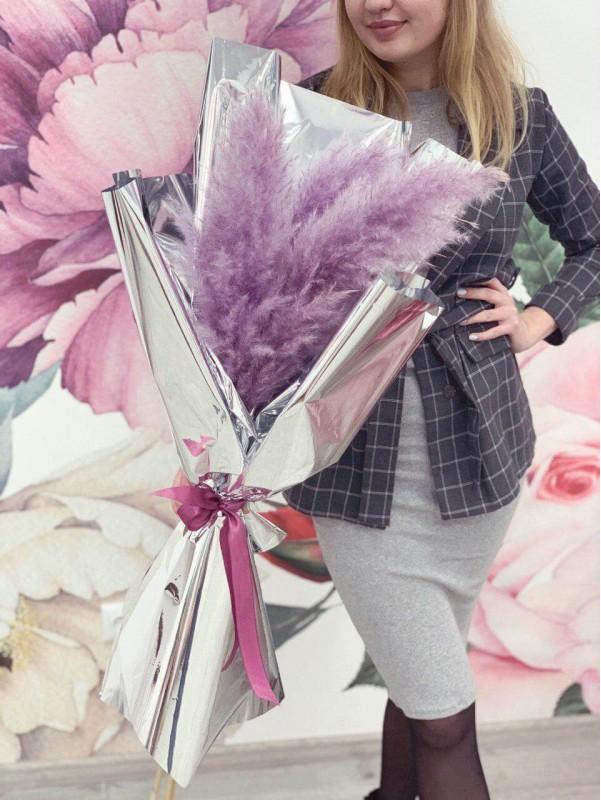 Монобукет из сухоцветов 'Эффектная кортадерия' от Kiwi Flower Shop