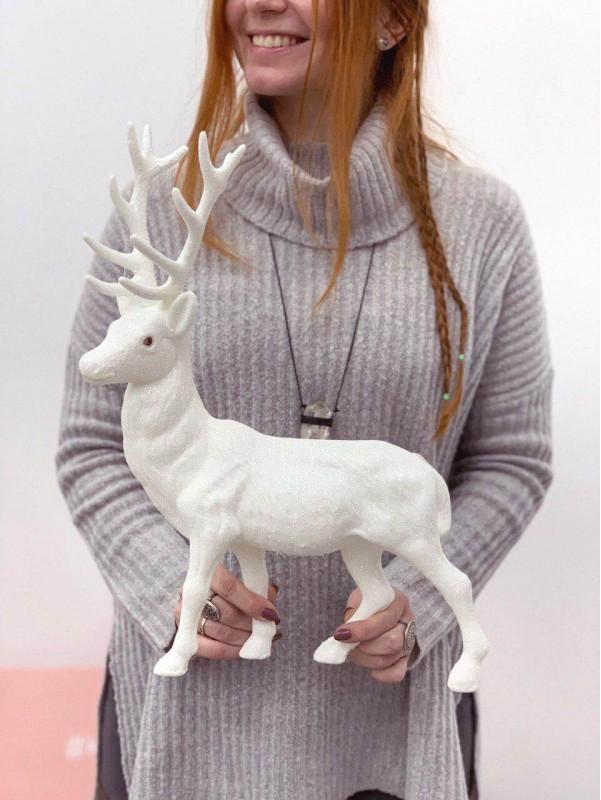 Новорічний декор 'White deer' від Kiwi Flower Shop