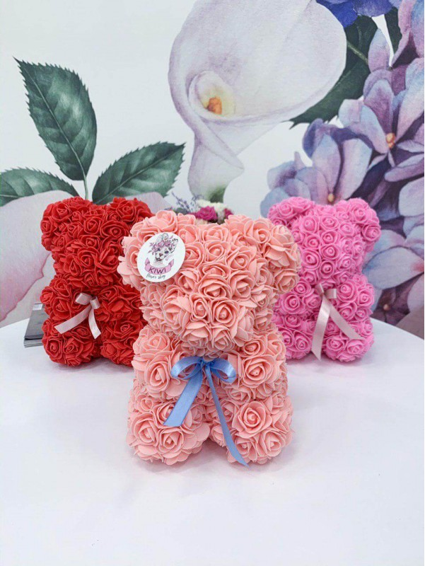 Мишка из роз   Купить подарок в Киеве от Kiwi Flower Shop
