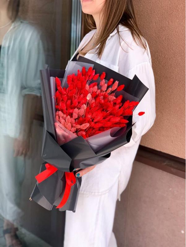 Монобукет з червоного фаляріса Red passion L | Сухоцвіти від Kiwi Flower Shop