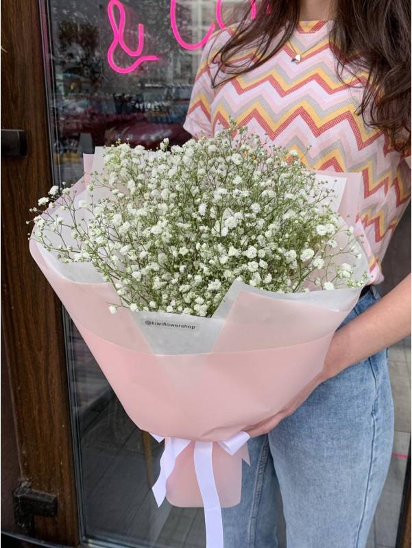 Букет-комплимент из белой гипсофилы | Букеты из гипсофилы от Kiwi Flower Shop