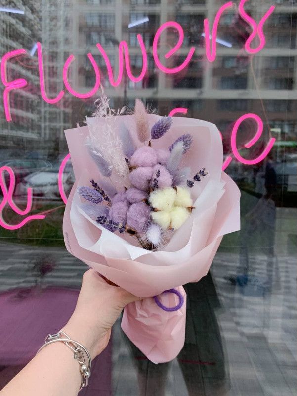 Bouquet-compliment with cotton | Dried flowers by Kiwi Flower Shop