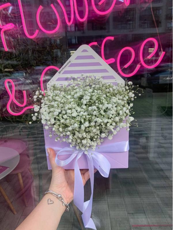 Белая гипсофила в коробке-конверте | Букеты из гипсофилы от Kiwi Flower Shop