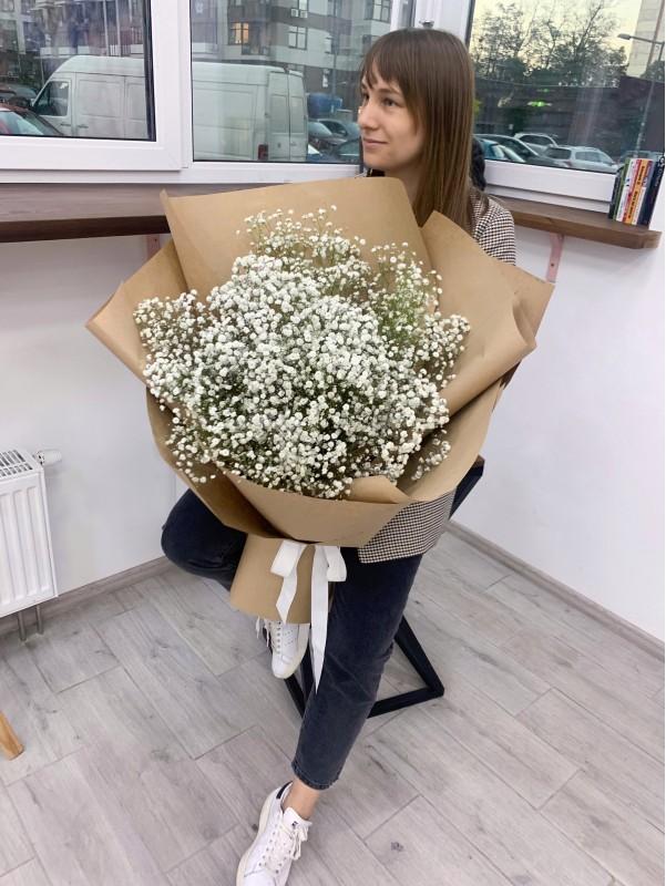 Моно букет з білої гіпсофіли 'Біла хмаринка'. від Kiwi Flower Shop