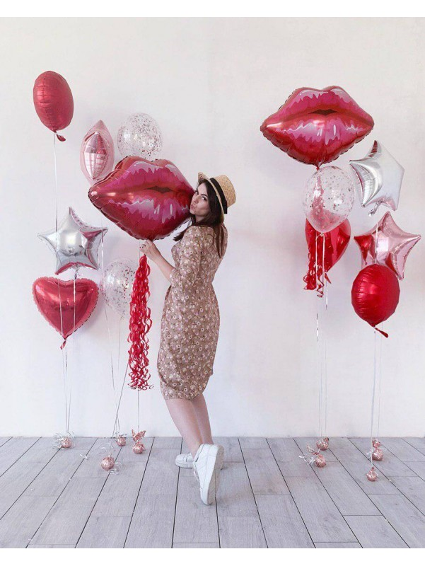 Набор шариков Red lips   Купить воздушные шары в Киеве   Воздушные шарики   Надувные шары от Kiwi Flower Shop