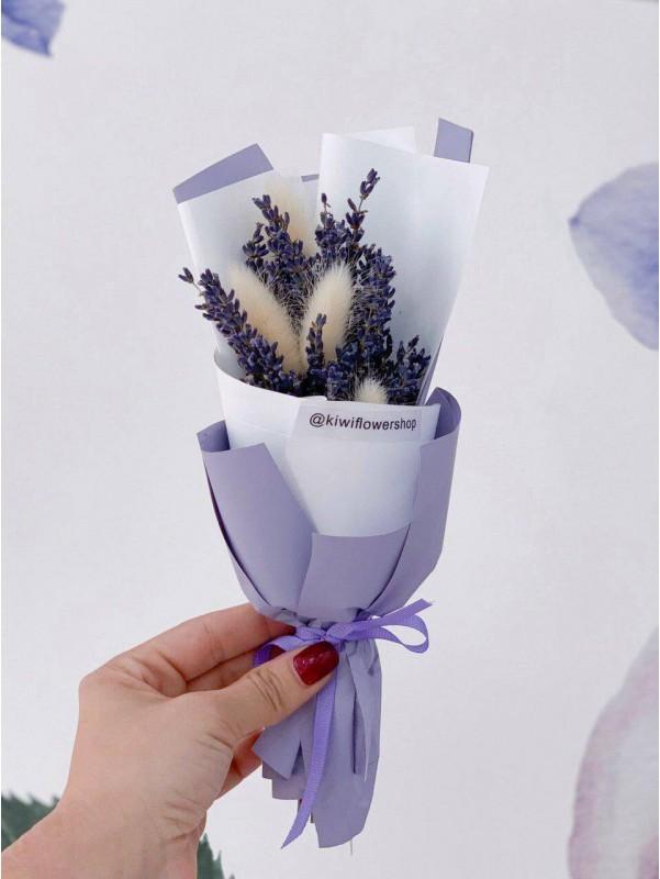 Букет из сухоцветов в упаковке 'Lavender dreams' от Kiwi Flower Shop