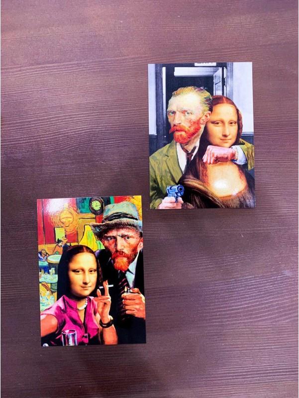 Листівка Ван Гог та Мона Ліза | Листівки від Kiwi Flower Shop