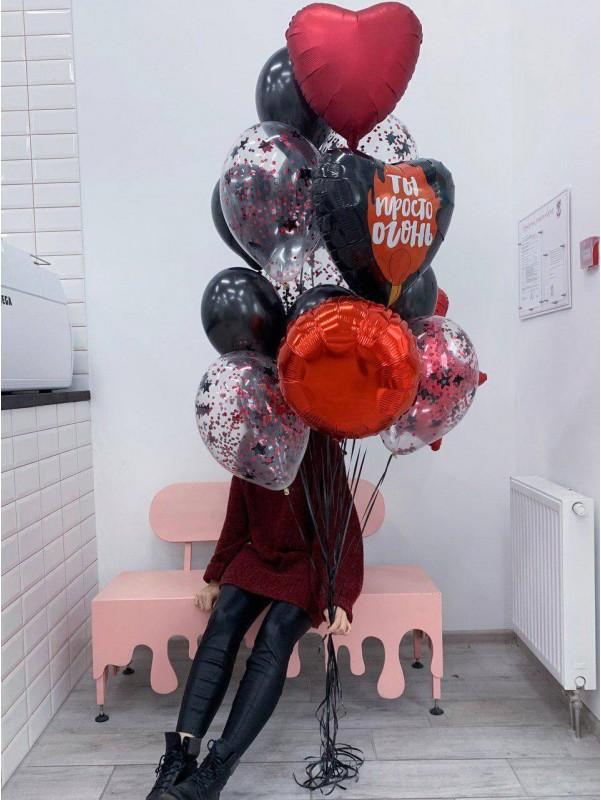 Набір повітряних кульок 'Black and Red' від Kiwi Flower Shop